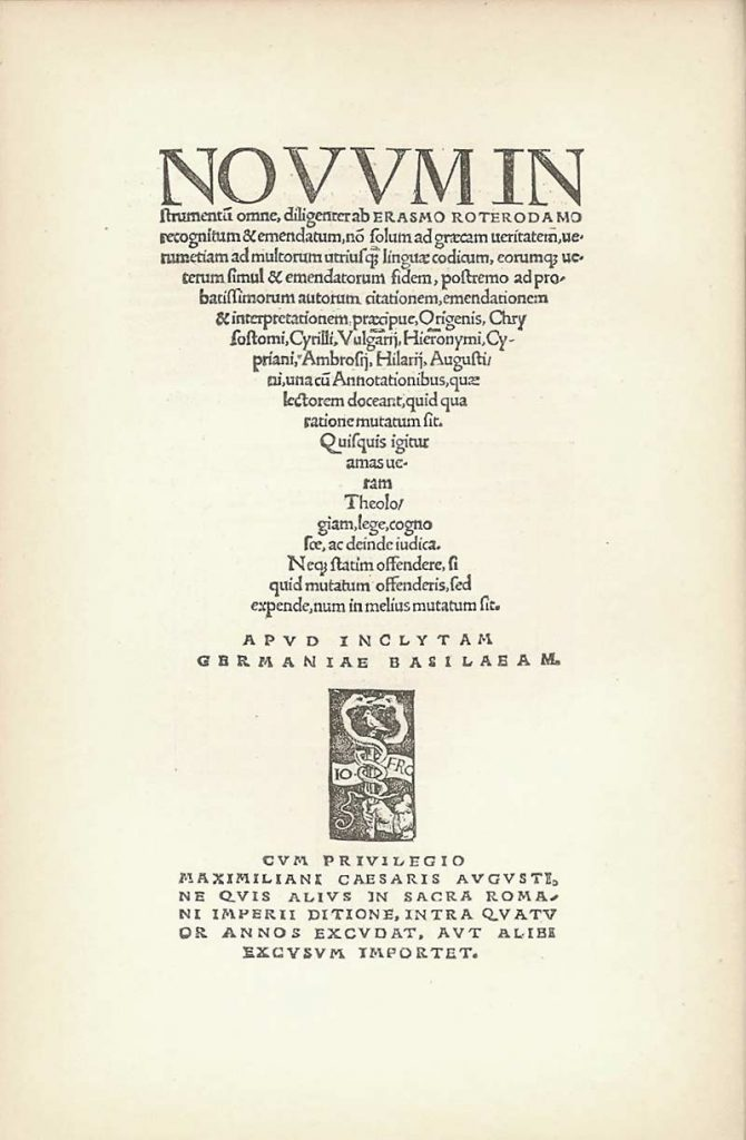 Erasmus interpretation title page